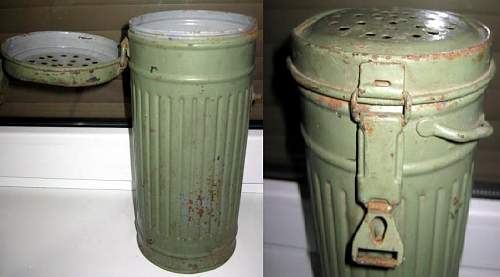 Click image for larger version.  Name:GERMAN GAS DECONTAMINATION CANISTER.jpg Views:115 Size:97.2 KB ID:313863