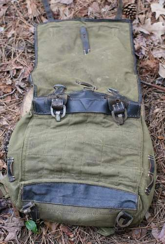 Identification needed on german mine and fitted canvas carrying gear?