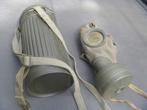 german gas mask and canister