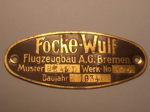 Luftwaffe Airplane Data & ID Plates