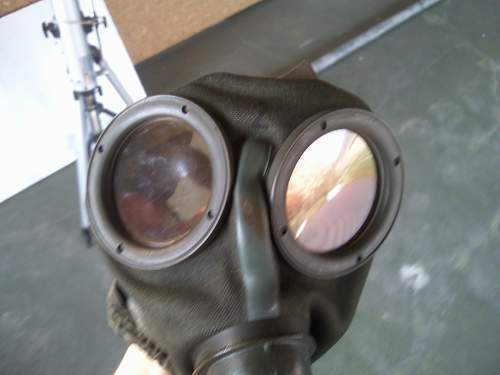 Gas mask & cannister, painted LW blue?