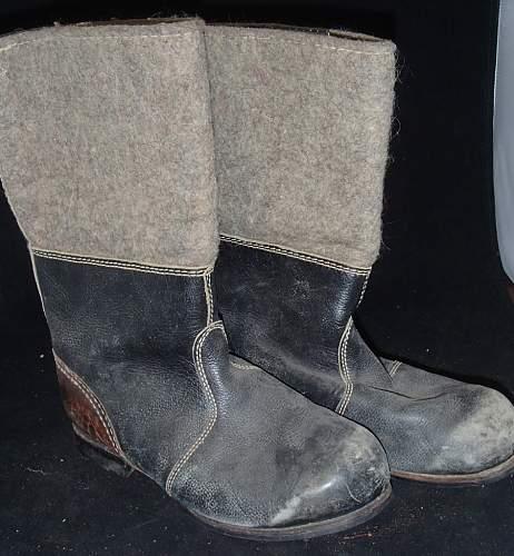 German Felt Boots - resoled WWII or East German ?