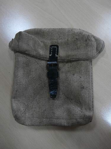 Latewar canvas MG42 tool pouch.