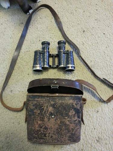 WW2 German binoculars CAG with leather case.