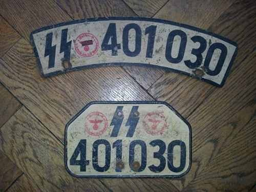 SS motorcycle license plate