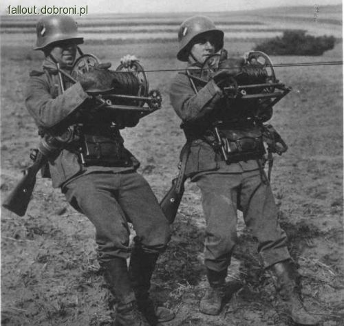 Image result for WW2 German SOLDIERS WITH field telephone cable reel