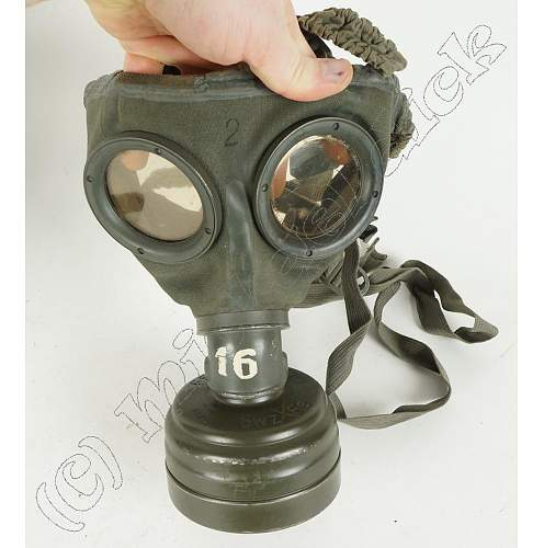 Gas Mask with lots of markings and two different colors