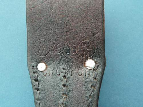 SS leather stamp on bayonet frog