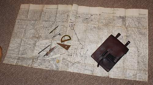 German Mapcase from 1938 with Maps and some accessories