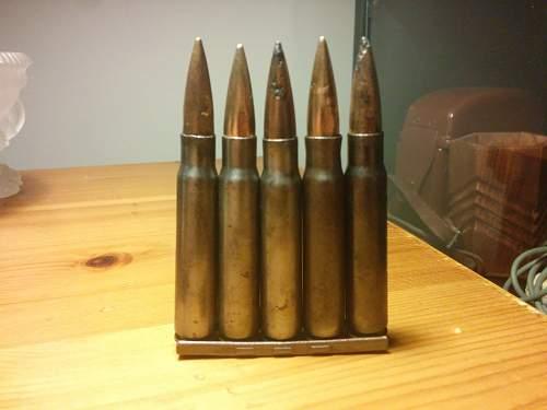 7,62x51 bullet and kar98 clip ammo 7,92x57