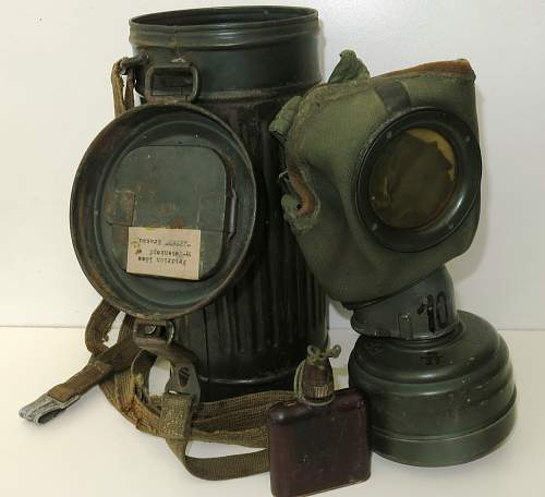 SS-T marked gas mask and canister