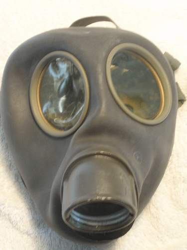 German civil gasmask, with used filter in a Danish canister