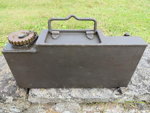German ammo tin sized oil can found in Jersey, Channel Islands.