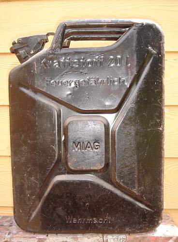 "1943 dated 20 Litre German fuel can (""Jerry Can"") by MIAG."