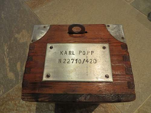 Kriegsmarine box for soldiers personal items.