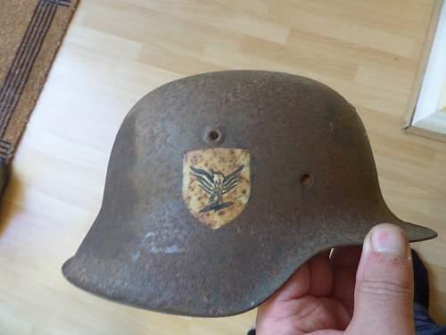 Finnish battlefield found helmet odd decals