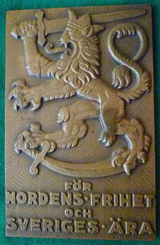 Click image for larger version.  Name:my Commemorative Plaque for Swedish Volunteers in the Winter War and Continuation War (Line Serv.jpg Views:325 Size:228.3 KB ID:396830