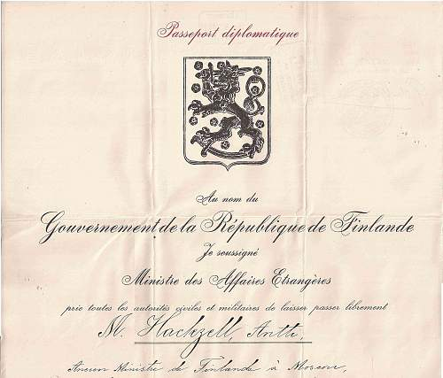 Finnish Diplomatic passport issued to Antti Hackzell