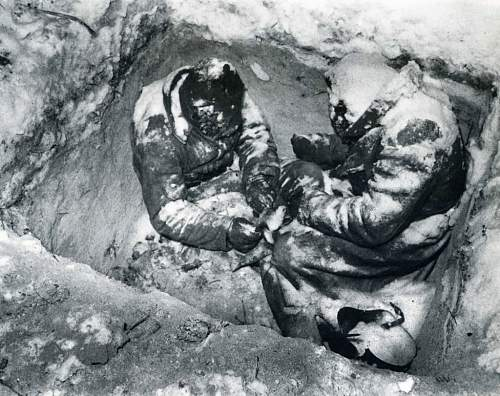 Click image for larger version.  Name:Two Soviet infantryman frozen to death in their foxhole, Finland, 1940.jpg Views:6 Size:177.9 KB ID:974904
