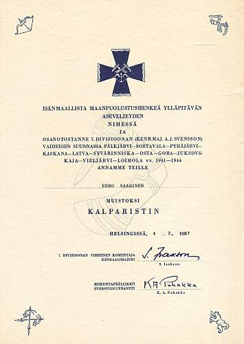 Finnish commemorative crosses and their documents