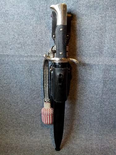 Unmarked short sawback Fire bayonet,frog and troddel.