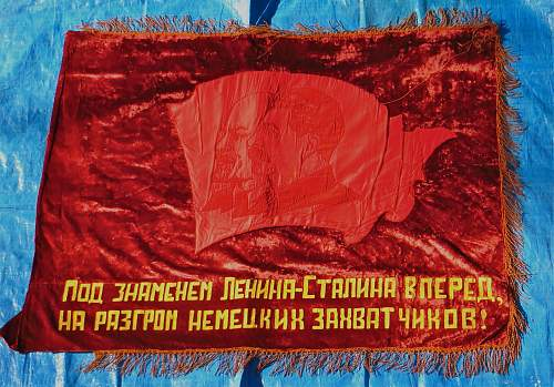 Two Soviet flags but what are they and what do the words mean? Help needed please.