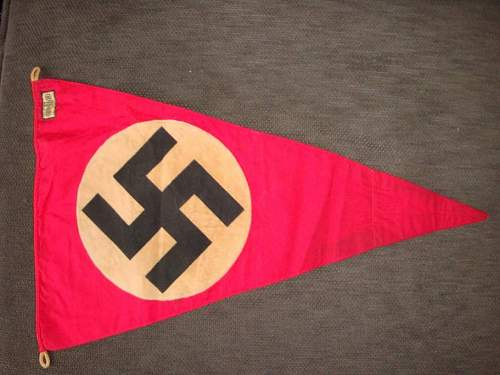 nazi pennant with a rzm tag real or fake