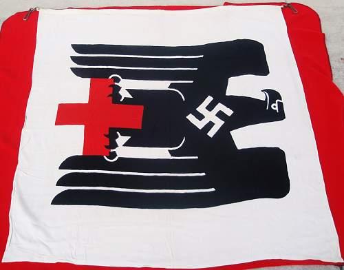 Deutsche Rote Kreuz Flag With Capture Paper