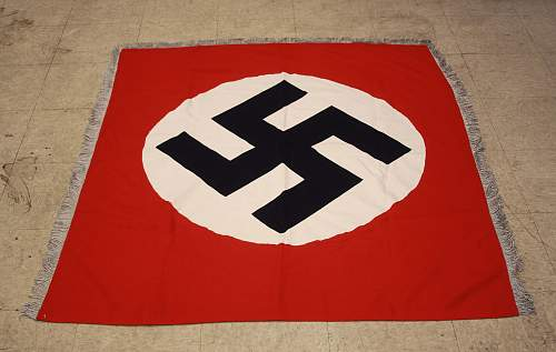 Large Double Sided Fringed NSDAP Banner 120cm x 135cm