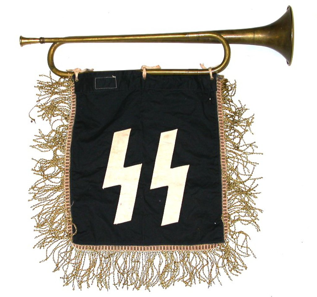 WWII German Nazi SS Trumpet Banner : Lot 0279