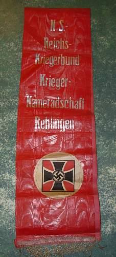 N S -  Reichs Kriegerbund Krieger-Kameradschaft Rehlingen Wimpel