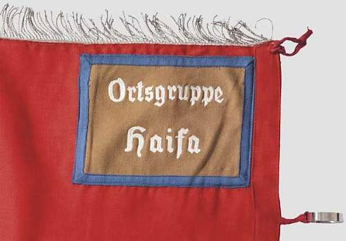 "NSDAP Foreign Organisation, Palestine National Group - a banner for the Ortsgruppe ""Haifa"""