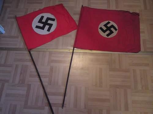 x2 NSDAP Small Flags w/ Poles