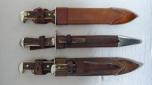 Waidblatt-Waidbestecke  Hunting blades F.Dula and Backhaus
