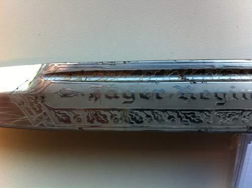 WKC short etched dress bayonet, Jager Reg't 99