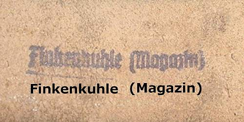 Finkenkuhle mag. marked belt. Iron source for Hitlers war machine? Wanted: more info.