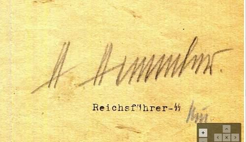 Himmler signed document...genuine?