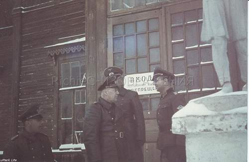 Odd GI Bringback: colour German photo, Heer & Police taken in Russia