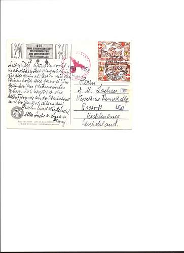New and very interesting Swiss/Nazi censored post card