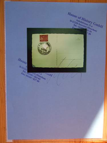 Hoffmann Postkarte with signature from A.H. with COA