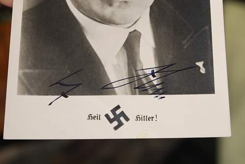 Adolf Hitler signed postcard.