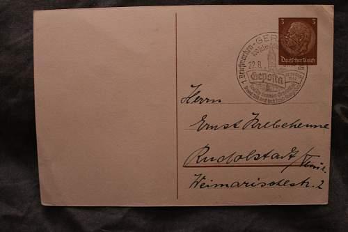 1. briefmarken ausstellung 21-29 august 1937 postcard
