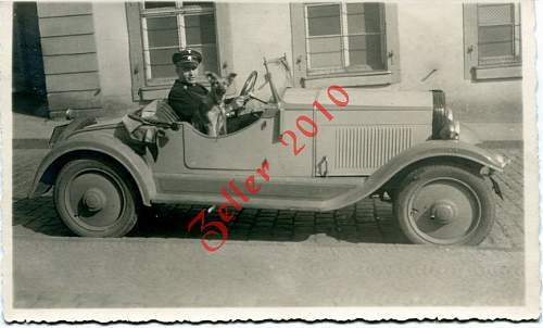 Allgemeine SS with dog and car