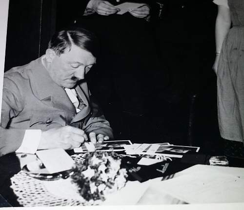 Hitler signed postcard + small documentation