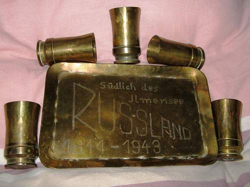 Nice trench art brandy cups set from Russian front