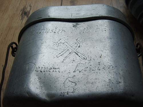 Elaborate Trench Art two German Mess Tins
