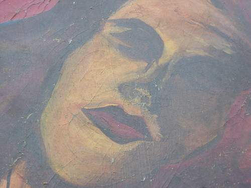 Oil Painting On Military Canvas - Pin-Up Girl???