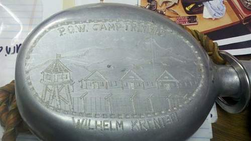 Trench art canteen of pow