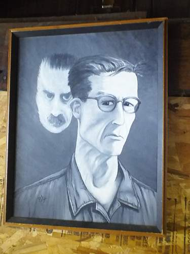 Painting looks like Hitler looking over someone by artist Bly