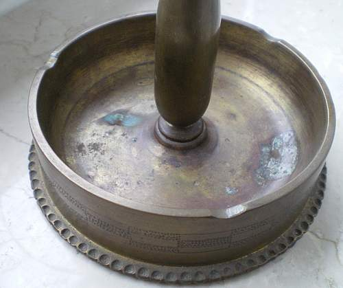 Ashtray made from artillery case